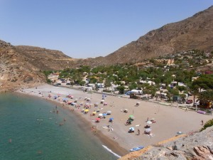 The beach and mountains at El Portús